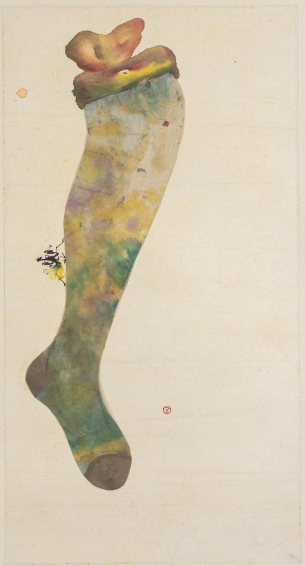Untitled (Mantis on Ladies Stocking) 1960,Ink, color and mixed media on xuan paper,85 x 45 cm,Collection of Studio of Gentleness and Ardour